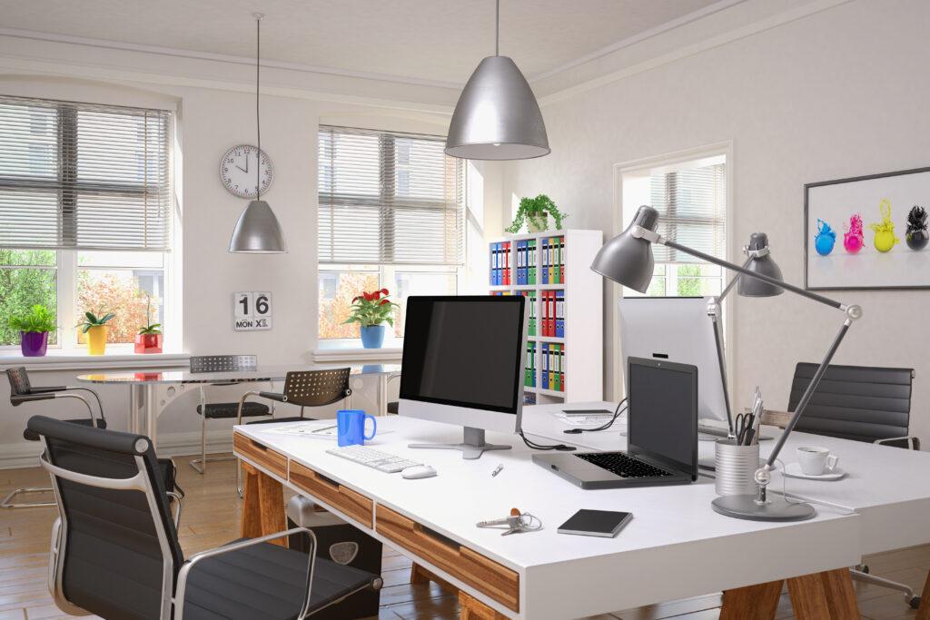 Ausstattung Arbeitsplatz, Ergonomischer Arbeitsplatz, Bürostuhl, Container, Arbeitsmaterial, Drucker, Telefon, Software am Arbeitsplatz